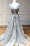 Gray round neck tulle lace long prom dress gray lace evening dress cg5123