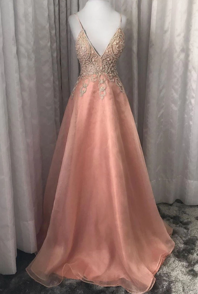 Pink v neck tulle beads long prom dress pink evening dress cg5126