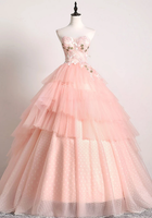 PINK SWEETHEART LACE TULLE LONG PROM GOWN PINK TULLE FORMAL DRESS cg5128