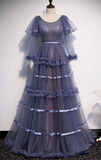 UNIQUE ROUND NECK TULLE LONG PROM DRESS TULLE EVENING DRESS cg5130