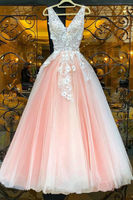 PINK V NECK LACE TULLE LONG PROM DRESS PINK LACE EVENING DRESS cg5132