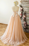 CHAMPAGNE TULLE SWEETHEART LACE LONG PROM DRESS TULLE FORMAL DRESS cg5133