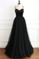 Black Tulle Spaghetti Straps Open Back Long Prom Dress cg5135