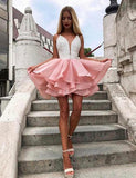Pink Short Homecoming Dresses Online Deep V Neck Appliques cg513