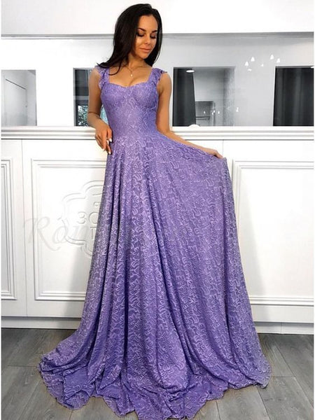 A-Line Straps Sleeveless Sweep Train Lavender prom dress cg5140