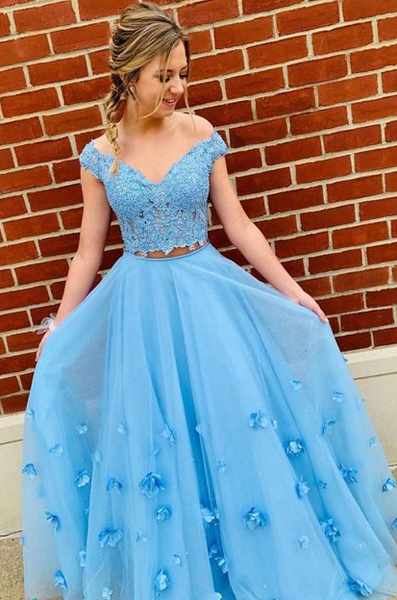 Blue Prom Dresse Long with Appliques cg5142