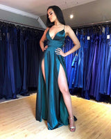 Green/Silver Prom Dresses Split Front cg5143