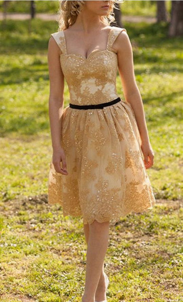 Sleeveless Party Dresses, Yellow Sleeveless Homecoming Dresses cg5147