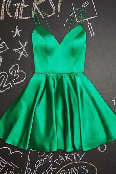 A-Line Short green Homecoming Dress Satin Party Dress cg5148