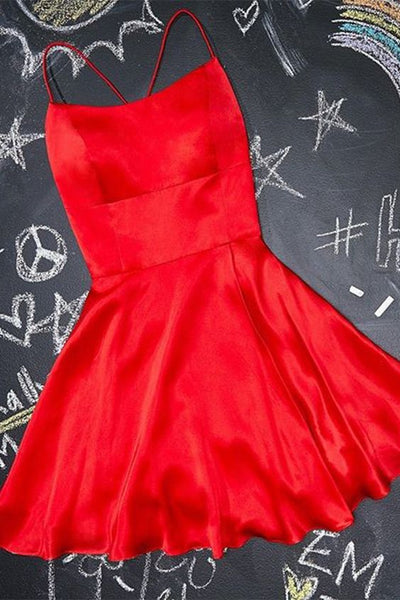 A-Line Short red Homecoming Dress Satin Party Dress cg5149
