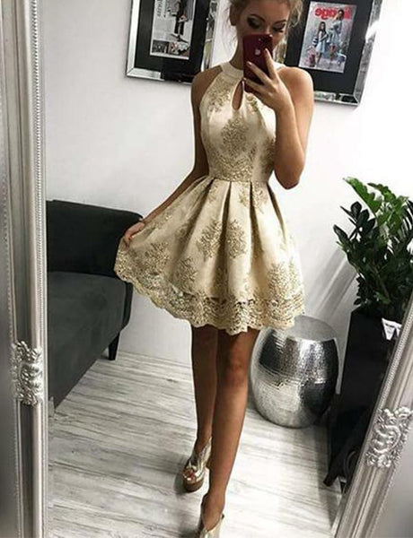 Champagne Short Homecoming Dresses Jewel Appliques With Keyhole cg514