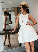 A-Line Round Neck Cut-out Short White Satin Homecoming Dress cg5150