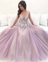 Pink v neck tulle lace long prom dress pink tulle lace evening dress  cg5152