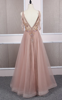 CHAMPAGNE TULLE BEADS LONG PROM DRESS CHAMPAGNE EVENING DRESS cg5159
