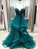 Custom, Green, A-Line, Emerald prom dress cg5160