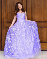 Purple Prom Dress, Lace Prom Gown, Appliques Prom Dress, Sweetheart Prom Gown cg5162