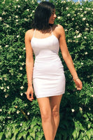 White Tight Homecoming Dresses,Halter Mini Party Dress  cg5166