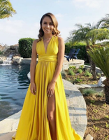 Sexy Yellow Party Dress with Slit,Backless V Neck Prom Dress cg5169