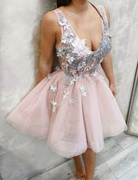 Pink Short Homecoming Dresses Appliques Cheap Party Dresses cg516