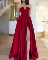 Strapless Prom Dress Floor Length Satin Evening Gown With Slit cg5174