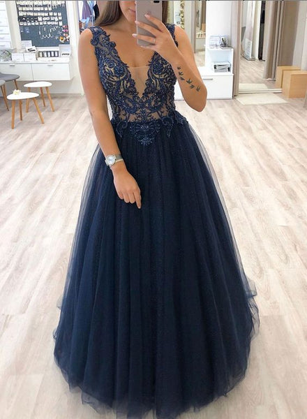 Dark blue v neck tulle beads long prom dress, evening dress cg5179