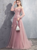 pink tulle lace long A line prom dress, pink evening dress, cheap dress cg5180