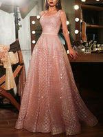 Elegant Round Neck Sleeveless Hot Gold Evening prom Dress cg5182
