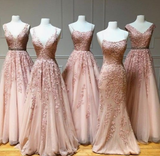 Princess Long Light pink Prom Dress with Appliques cg5186