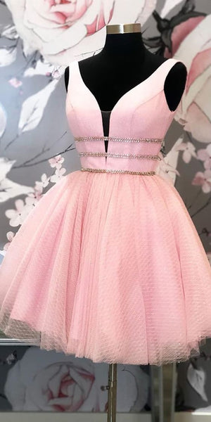 Princess Short Party Dress Pink Tulle Homecoming Dress cg5188