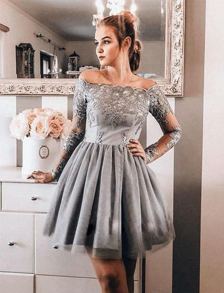 Off The Shoulder Short Homecoming Dresses Appliques Gray Cocktail Party Dresses  cg518