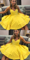 A-line Yellow Satin Short Party Dress Homecoming Dress cg5190