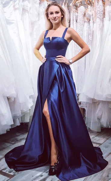 Blue satin long prom dress, blue evening dress cg5191