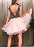 Cute v neck tulle beads short party dress tulle homecoming dress cg5192