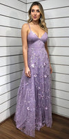Expuisite Lace Purple V Neck Long Floor Length Prom Evening Dress cg5194