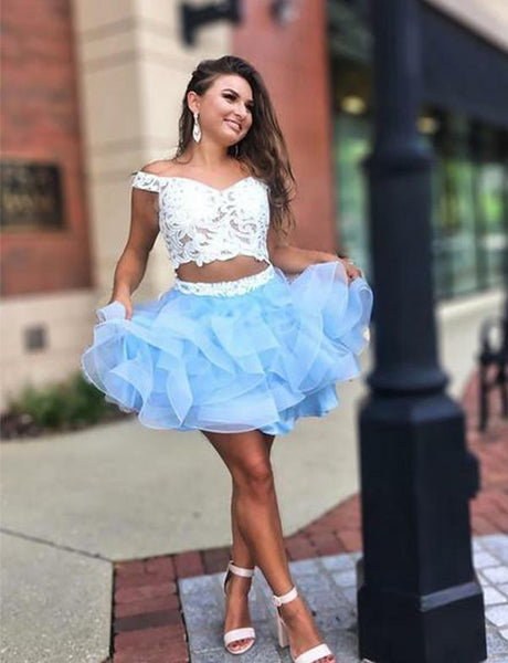 Two Piece Short Homecoming Dresses Blue Appliques Party Dresses cg519