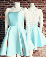 baby blue homecoming dresses cute lace up back graduation dress for semi formal occasion cg5201