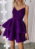 short purple v neck homecoming dresses for back to school dress cg5202