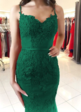 green lace mermaid prom dresses elegant sweetheart evening gown cg5204