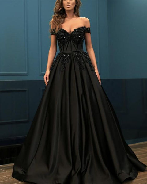 Elegant Lace Beaded Off Shoulder Satin Prom Dresses Ball Gowns cg5203