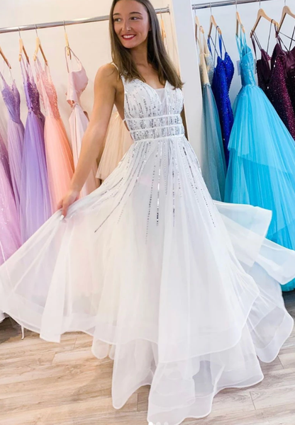 White v neck tulle sequin long prom dress white evening dress cg5208