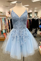 V Neck Short Sky Blue Homecoming Dress cg5212