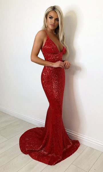 Red Sequin Sleeveless Spaghetti Strap Plunge V Neck Backless Mermaid prom Dress  cg5217