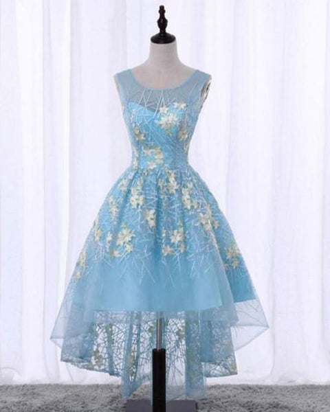 Spring blue lace scoop neck high low homecoming dress with appliques cg5219