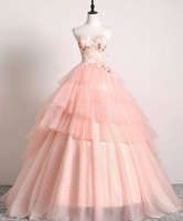 Sweetheart Pink Tulle 3D Lace Multi-layered Ball Gown, Formal Prom Dress cg5220