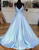 Light Blue Satin V-neck Cross Back Prom Dresses cg5221