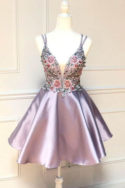 shot pink homecoming dress with floral embroidery, homecoming dress 2020 cg5224