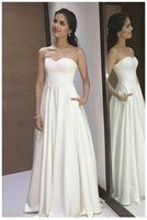 A-Line Sweetheart Floor-Length White Prom Dress with Pleats cg5225