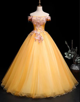 Yellow Tulle Off Shoulder Long Custom Size Senior Prom Dress, Evening Dress cg5226