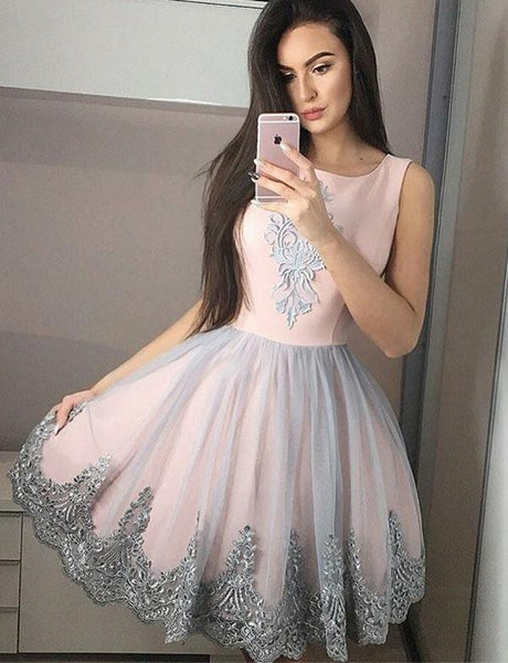 Pink Short Homecoming Dresses With Lace Embroidery cg522