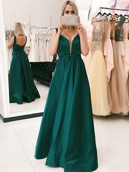 Simple Emerald Green Open Back Floor Length Evening Prom Dresses cg5231